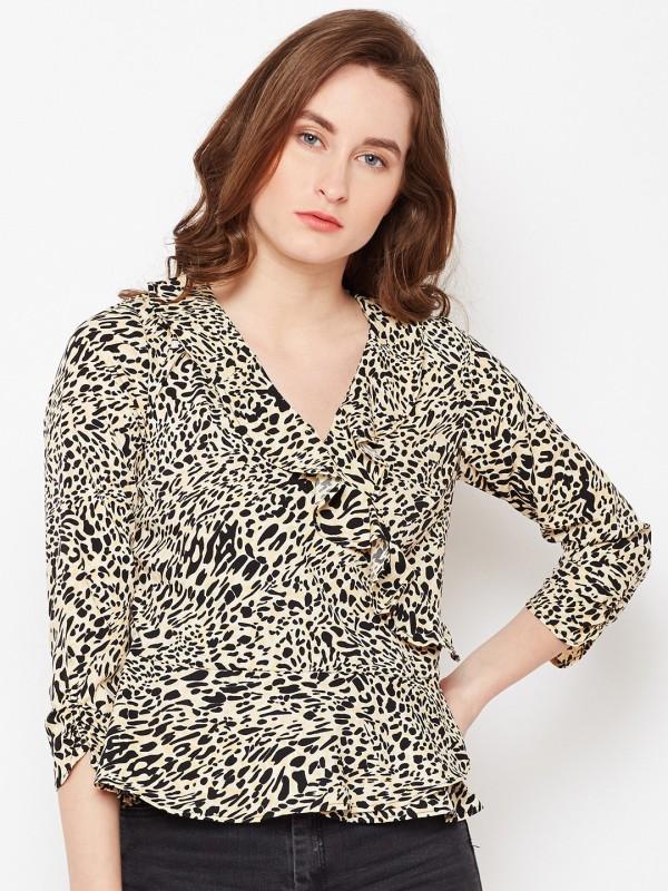 Popnetic Casual 3/4th Sleeve Animal Print Women's Beige Top