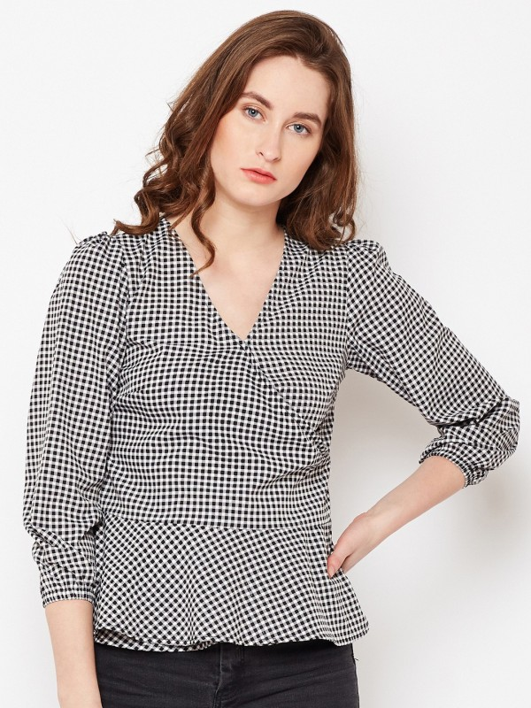 Popnetic Casual 3/4th Sleeve Checkered Women's Black Top