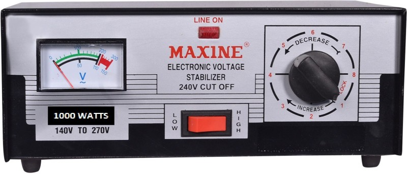 Maxine 1000 Watts (140V -270V) Auto cut off - Manual Voltage step UP/DOWN stabilizer for LED TV(Black)