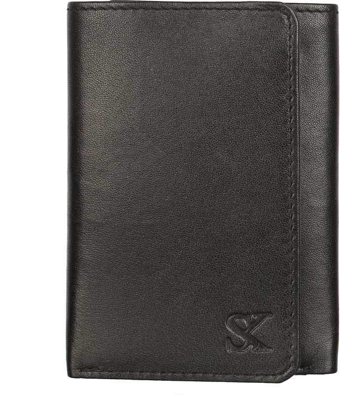 Styler King Men Black Genuine Leather Wallet(6 Card Slots)
