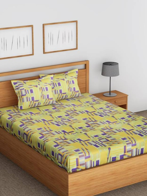 Raymond Home 104 TC Cotton Double Printed Bedsheet(Pack of 1, Green)