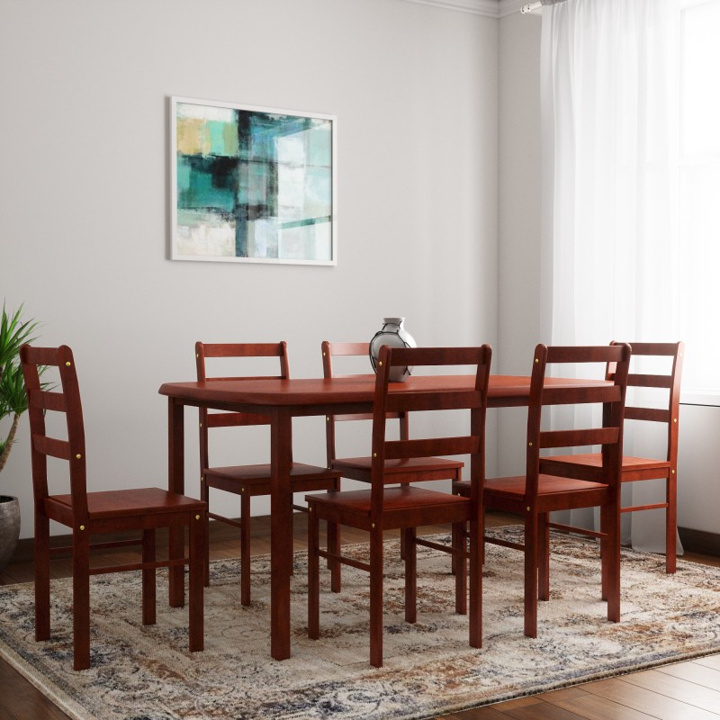 Woodness Florence Solid Wood 6 Seater Dining Set(Finish Color - Mahogany)