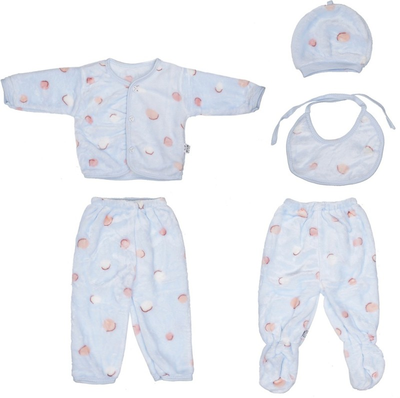 Aarushi Baby Boys & Baby Girls Casual T-shirt Bib, Cap, Pyjama(Light Blue)