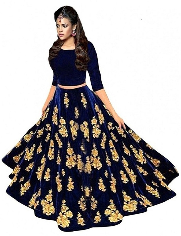 Divya Creation Embroidered Semi Stitched Lehenga Choli(Blue)