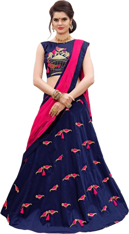 Divya Creation Embroidered Semi Stitched Lehenga, Choli and Dupatta Set(Blue)