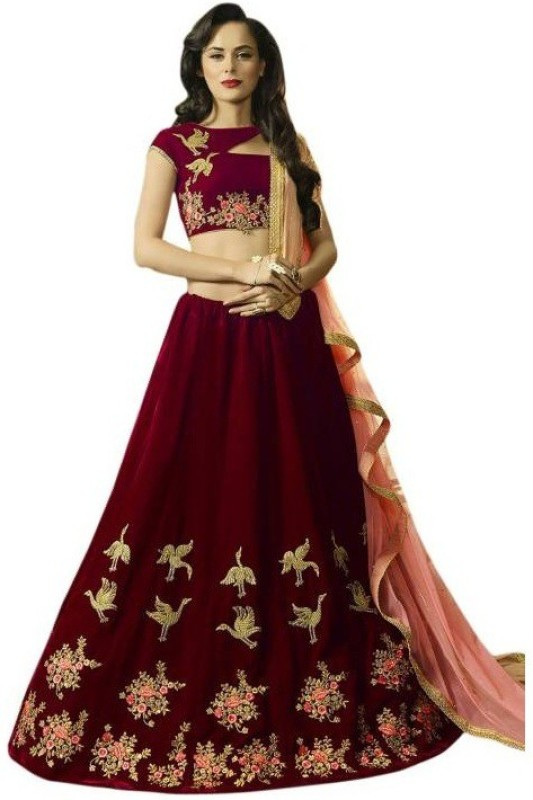 Divya Creation Embroidered Semi Stitched Lehenga, Choli and Dupatta Set(Maroon)