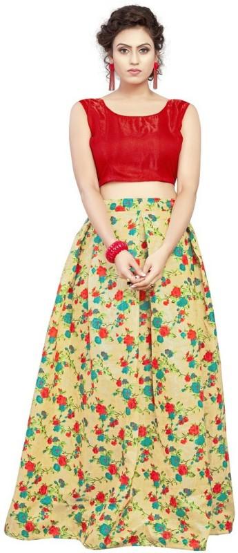 c660478bdb7 NplashFashion Printed Semi Stitched Lehenga Choli(Red)