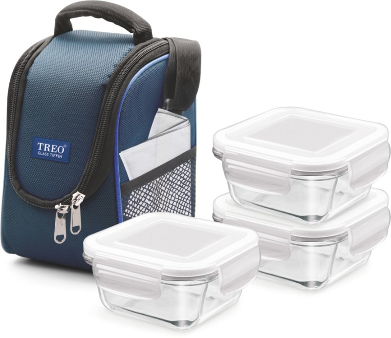 Treo Health First Glass Tiffin 3 Containers Lunch Box(900 ml)