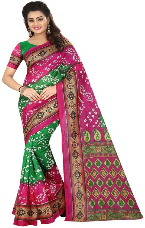 Shree Ram Creation Printed Bollywood Art Silk Saree(Pink)