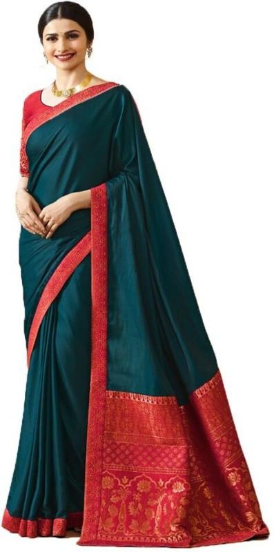 Glamory Saree Embroidered Fashion Silk Saree(Blue)