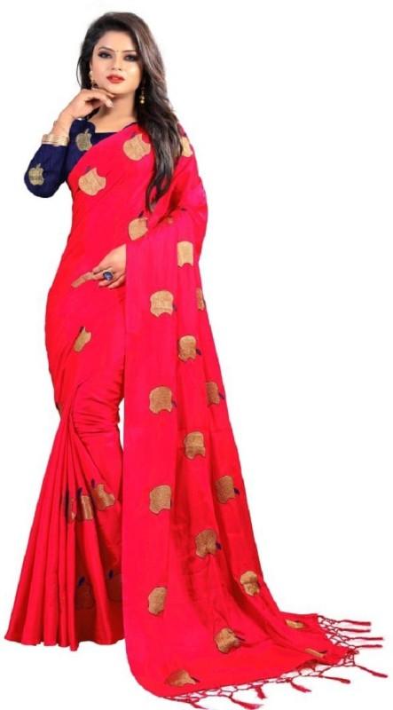 Glamory Saree Embroidered Fashion Silk Saree(Red)