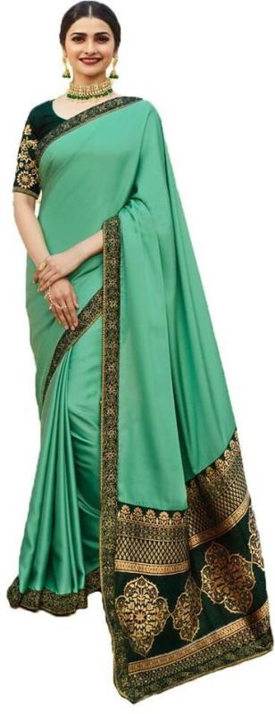 Glamory Saree Embroidered Fashion Silk Saree(Green)