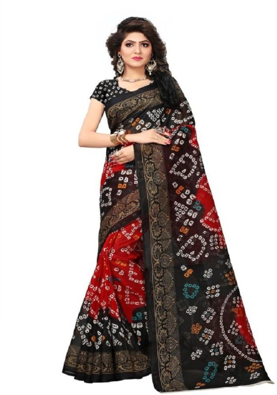 Shree Ram Creation Printed Bollywood Art Silk Saree(Black)