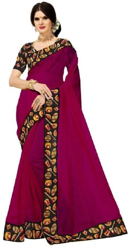 Glamory Saree Printed Daily Wear Poly Chanderi Saree(Pink)