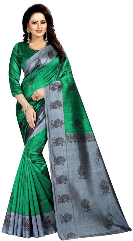 Shree Ram Creation Printed Bollywood Art Silk Saree(Green)