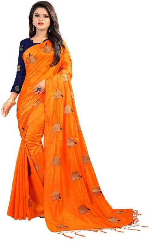 Glamory Saree Embroidered Fashion Silk Saree(Orange)