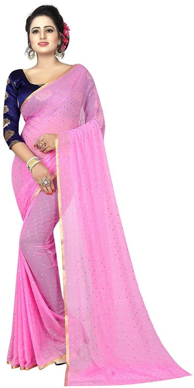 Glamory Saree Embellished Daily Wear Georgette Saree(Pink)