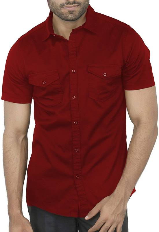 BASE 41 Men Solid Casual Maroon Shirt
