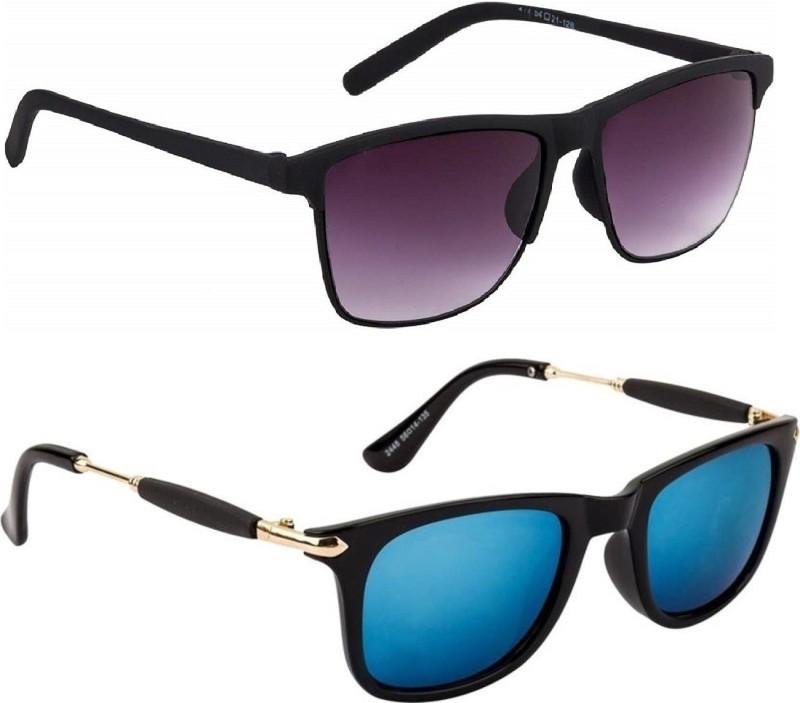 Flynn Rectangular, Wayfarer Sunglasses(Black, Blue) image