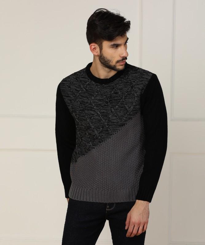 Wrangler Self Design Round Neck Casual Mens Black Sweater