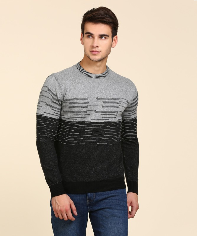Wrangler Solid Round Neck Casual Mens Black Sweater