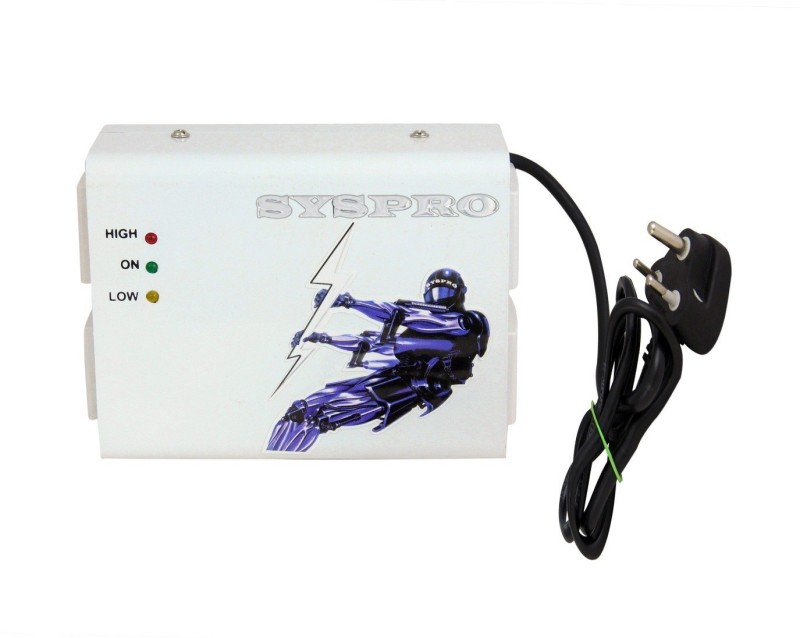 Syspro Stabilizer for LED Upto 45 inch with Anchor Panasonic Power Cord and Socket(White)