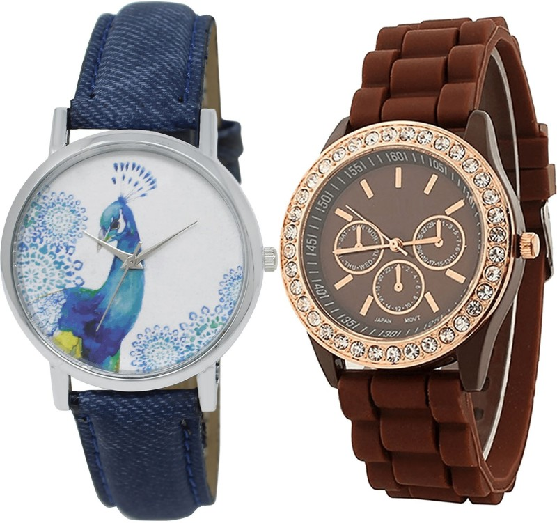 NIKOLA Contemporary Wrist Peacock Blue And Brown Color Combo Watch (GL241-G216) For Girls And Women Watch - For Girls