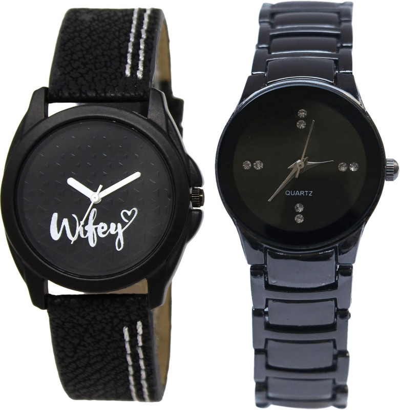 NIKOLA Latest Chronograph Wife Black Color Combo Watch (GL234-G206) For Girls And Women Watch - For Girls