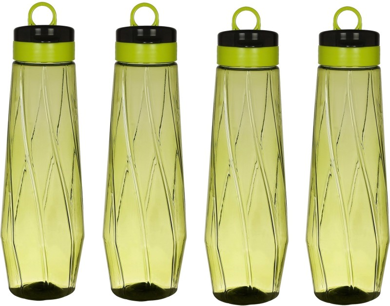 Steelo Siena Plastic Water Bottle, 1 Litre, Set of 4, Olive Green 1000 ml Bottle(Pack of 4, Green)