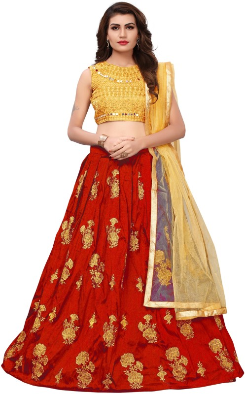 Ross And Rack Embroidered Semi Stitched Lehenga, Choli and Dupatta Set(Red, Gold)