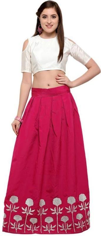 Manav Fashion Embroidered Lehenga Choli(Red)