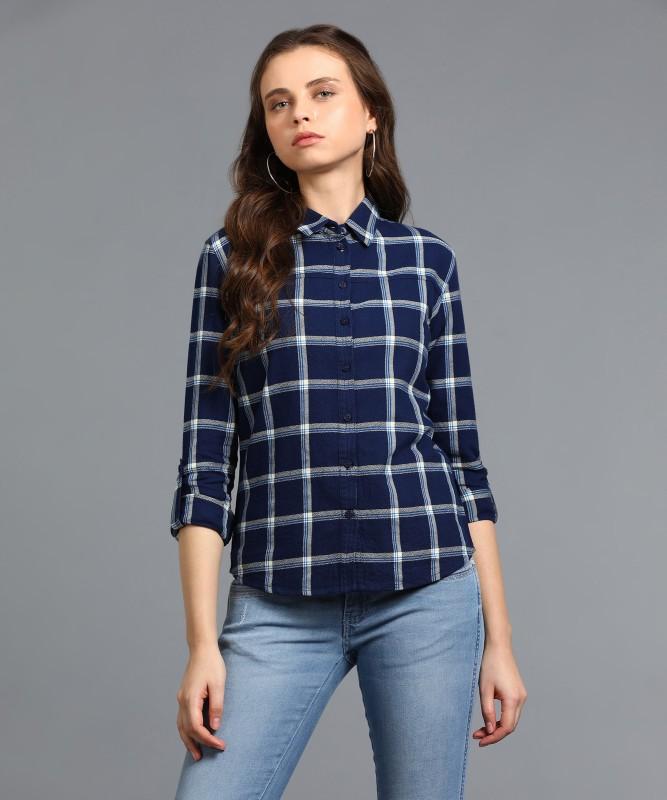 Wrangler Womens Checkered Casual Dark Blue Shirt