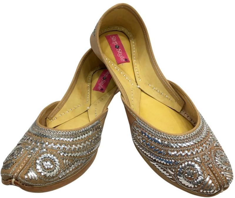 Step N Style Women's Chappal Gota Patti Work Flat Shoes Indian Designer Sandals Juti Jutis For Women(Olive, Silver)