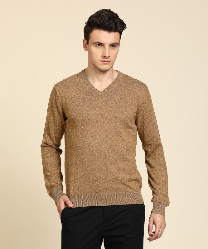 Gant Solid V-neck Casual Mens Brown Sweater