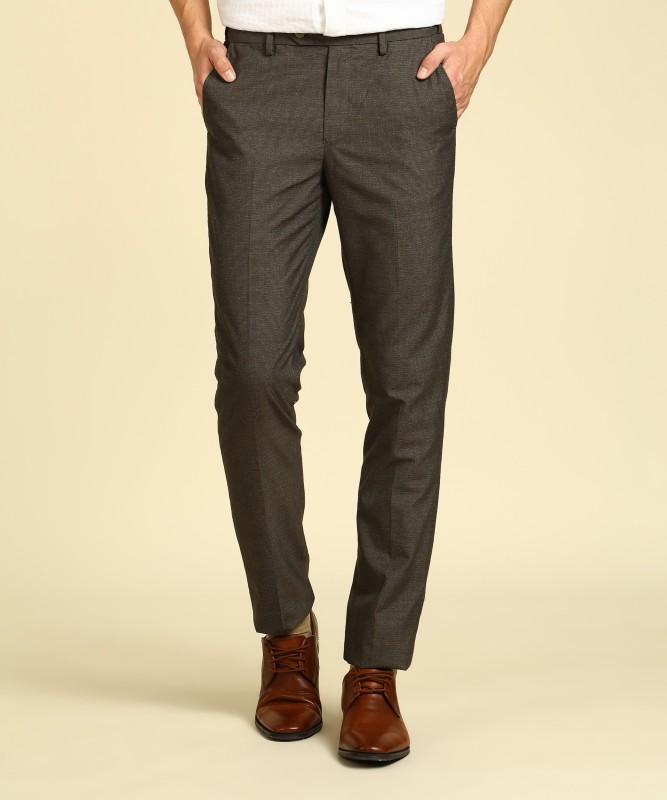 Peter England Slim Fit Men Brown Trousers