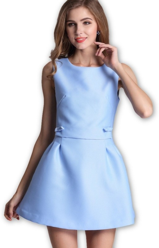 ANE Women's Fit and Flare Light Blue Dress