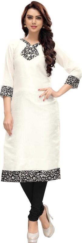 Venisa Festive & Party Printed Women's Kurti(White)