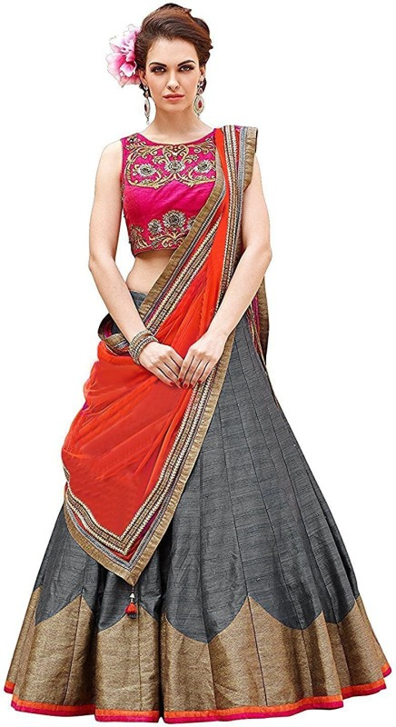 SHREEKHODALART Embroidered Lehenga, Choli and Dupatta Set(Multicolor)