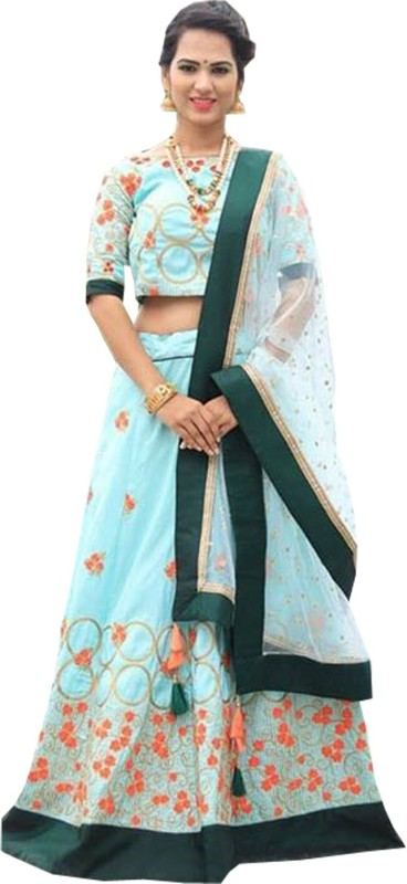 Shree Ram Creation Embroidered Semi Stitched Lehenga, Choli and Dupatta Set(Light Blue)
