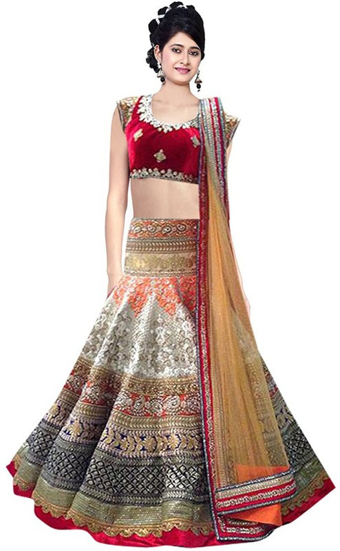 Nirvan fashion Embroidered Lehenga Choli(Beige, Pink)