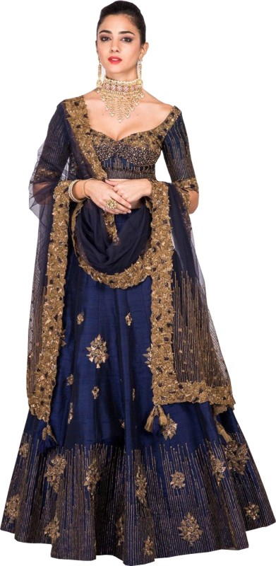 Shree Ram Creation Embroidered Semi Stitched Lehenga, Choli and Dupatta Set(Blue)