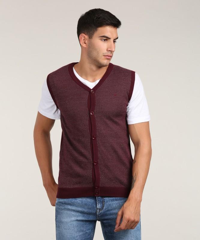 Louis Philippe Self Design V-neck Casual Men's Maroon Sweater