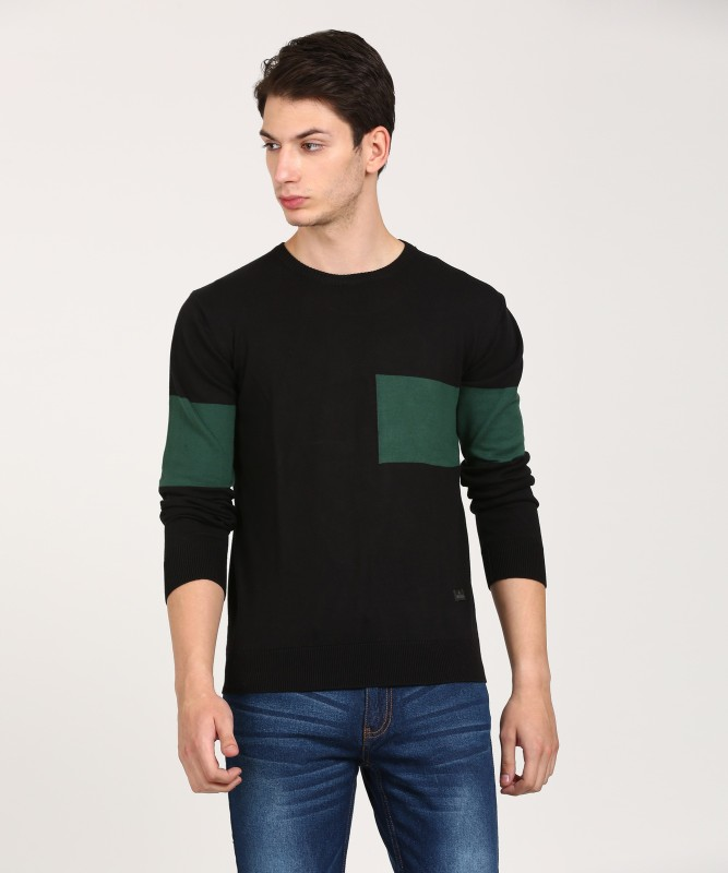 WROGN Solid Crew Neck Casual Mens Black Sweater