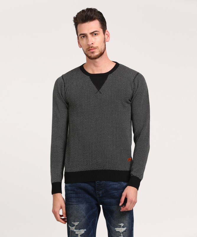 WROGN Self Design Round Neck Casual Mens Black, Grey Sweater