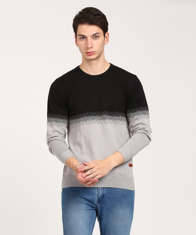 WROGN Solid Crew Neck Casual Mens Black, Grey Sweater