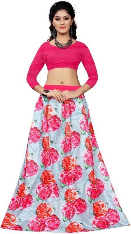 Mohnish Fashion Floral Print Semi Stitched Lehenga Choli(Pink)