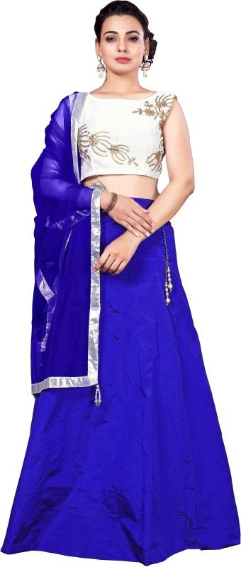 j s fashion Embroidered Lehenga Choli(Blue)
