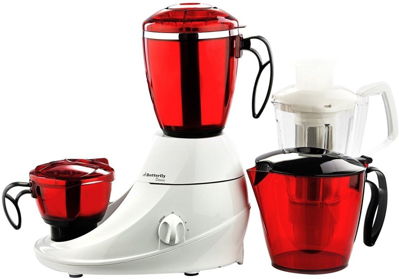 Butterfly Present Desire 1 HP with 3 Jars 750 W Unbreakable polycarbonate outer shell and SS inner shell jars 750 Juicer Mixer Grinder(Red:White, 3 Jars)