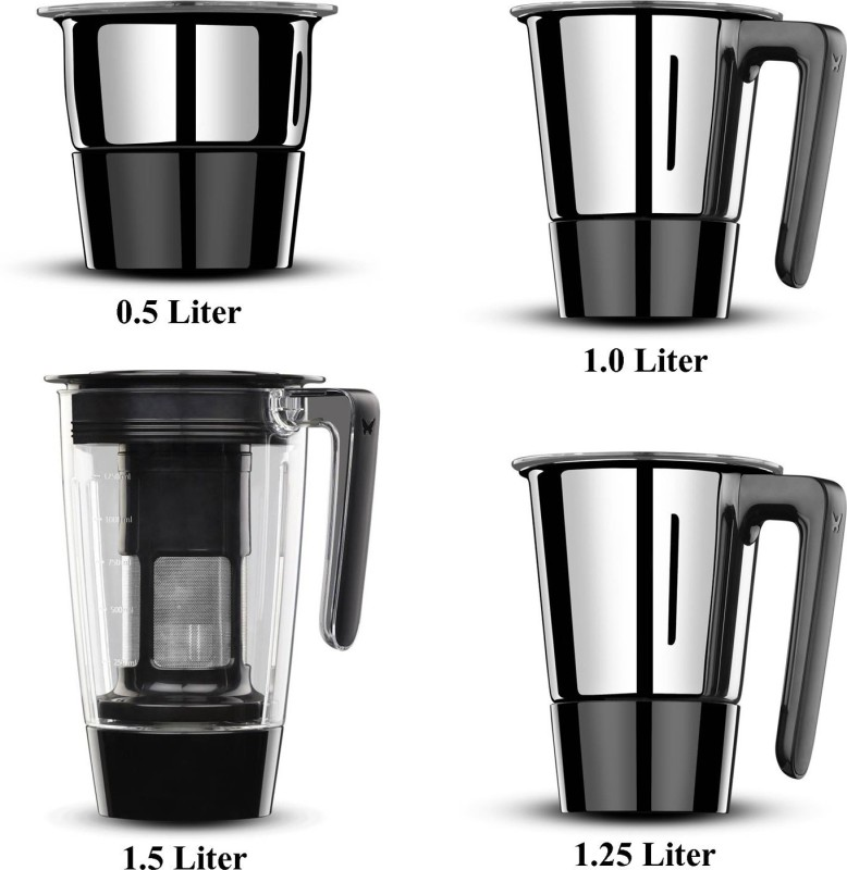 Butterfly Present Spectra with 4 Jars 750 W Black color Unbreakable polycarbonate outer shell and SS inner shell jars 750 W Juicer Mixer Grinder(Black, 4 Jars)