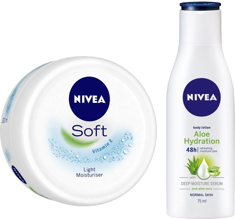 Nivea Soft Moisturising Crme 300ml with Aloe Hydration Body Lotion, 75ml(375 ml)